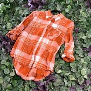 Orange Plaid Top